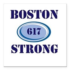 "Boston Strong 617 Square Car Magnet 3"" x 3"""