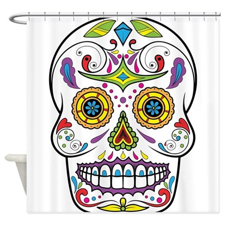 sugar skull shower curtain by coolgiftsandgreatmerch. Black Bedroom Furniture Sets. Home Design Ideas