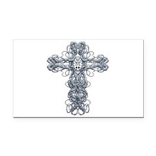 Wire Cross with Miraculous Medal Rectangle Car Mag