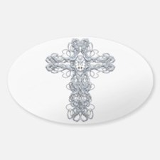 Wire Cross with Miraculous Medal Sticker (Oval)
