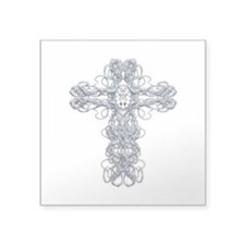 Wire Cross with Miraculous Medal Square Sticker 3""