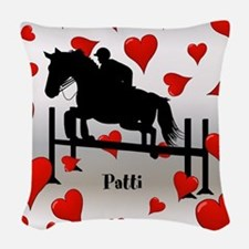 Fun Horse Jumper and Hearts Woven Throw Pillow