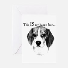 Beagle Happy Face Greeting Cards (Pk of 10)