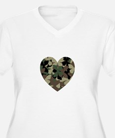 Butterfly Camo Heart V-Neck Plus Tee