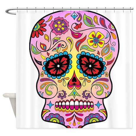 sugar skull shower curtain by customfunnyandcoolgifts. Black Bedroom Furniture Sets. Home Design Ideas