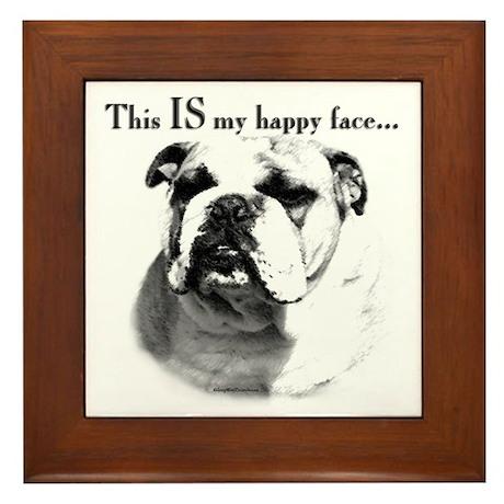 Bulldog Happy Face Framed Tile