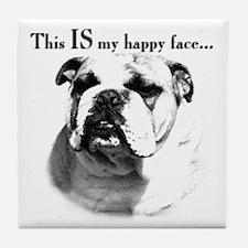 Bulldog Happy Face Tile Coaster