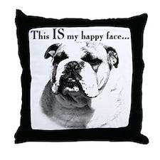 Bulldog Happy Face Throw Pillow