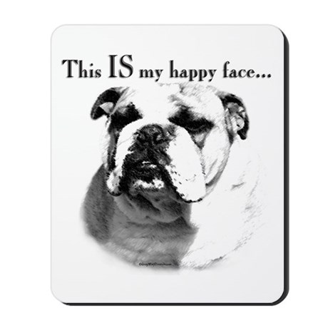 Bulldog Happy Face Mousepad