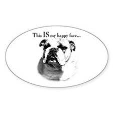 Bulldog Happy Face Oval Decal