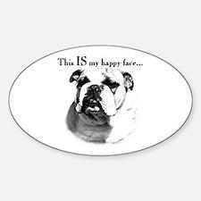 Bulldog Happy Face Oval Decal