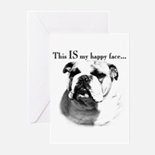 Bulldog Happy Face Greeting Cards (Pk of 10)