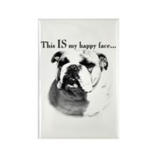 Bulldog Happy Face Rectangle Magnet