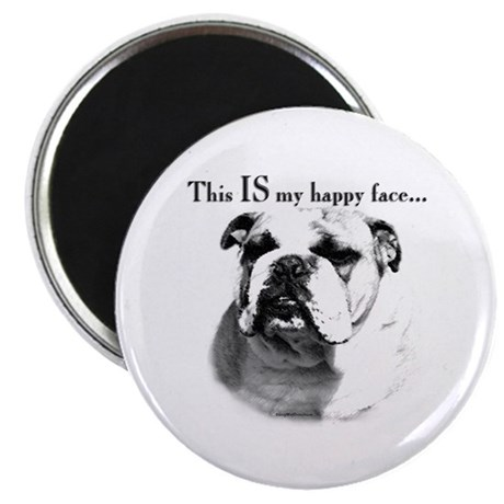 Bulldog Happy Face Magnet