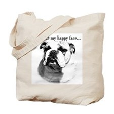 Bulldog Happy Face Tote Bag