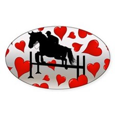 Fun Horse Jumper and Hearts Decal