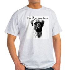 Bullmastiff Happy Face Ash Grey T-Shirt