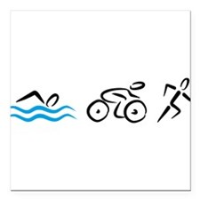 "Triathlon Square Car Magnet 3"" x 3"""