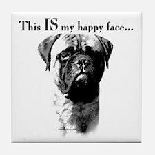 Bullmastiff Happy Face Tile Coaster
