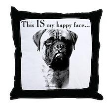 Bullmastiff Happy Face Throw Pillow