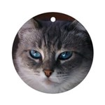 Blue-Eyed Cat Ornament (Round)