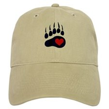 Leather Bear Paw Baseball Cap