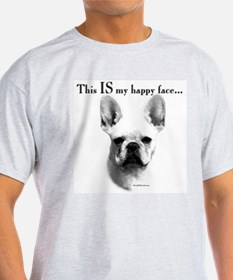 Frenchie Happy Face Ash Grey T-Shirt