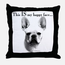 Frenchie Happy Face Throw Pillow