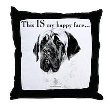 Mastiff Happy Face Throw Pillow