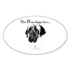 Mastiff Happy Face Oval Decal
