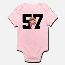 Softball Player Uniform Number 57 Infant Bodysuit