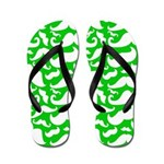Mustaches Green n White Flip Flops