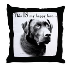 Lab Happy Face Throw Pillow