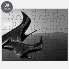 Sunset Boots (black and white) Puzzle