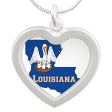 Louisiana Flag Silver Heart Necklace