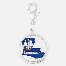 Louisiana Flag Silver Round Charm