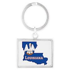 Louisiana Flag Landscape Keychain