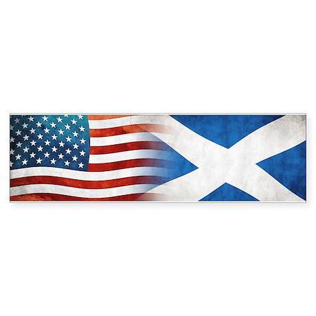 Scottish American Flags Bumper Sticker