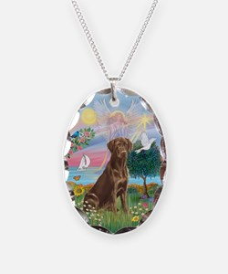 Cloud Angel-Choc. Labrador Necklace