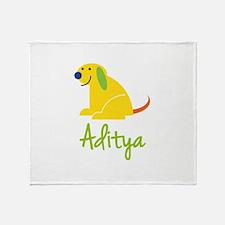 Aditya Loves Puppies Throw Blanket