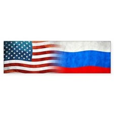 Russian American Flags Bumper Bumper Sticker