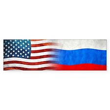 Russian American Flags Bumper Bumper Sticker
