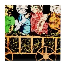 Wagon full of cats Tile Coaster