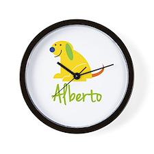Alberto Loves Puppies Wall Clock