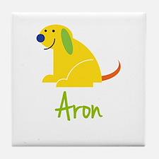 Aron Loves Puppies Tile Coaster