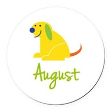 August Loves Puppies Round Car Magnet
