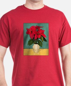 Xmas Van Gogh Poinsettias T-Shirt