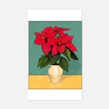 Xmas Van Gogh Poinsettias Rectangle Decal