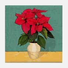 Xmas Van Gogh Poinsettias Tile Coaster