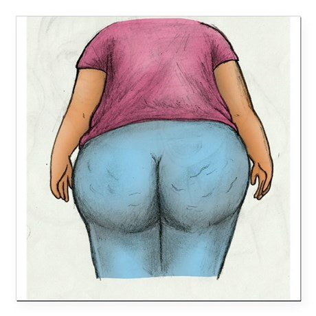 """Cottage Cheese Ass Square Car Magnet 3"""" x 3"""""""